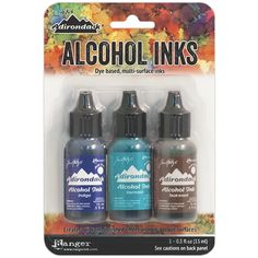 Alcohol Inks provide vibrant colors and endless possibilities! The Tim Holtz Alcohol Inks are formulated to create a vibrant, polished stone look. Use on glossy paper, dominoes, metal, foil, shrink plastic, glass, or other slick surfaces. Acid Free 0.5 fl Ounces Dye based multi-surface ink Quick drying Designed and used by Tim Holtz Easy to use precision tip bottles. Colors include: Indigo, Mermaid & Teakwood