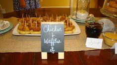 Chicken and waffles! Mini Eggo waffles + Chick-Fil-A chicken nuggets