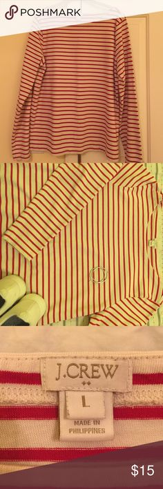 J. Crew Red and Cream striped shirt Long sleeve. Boat neck. Hits at the hip. Size: Large but is a snug fit (listed as medium). Goes great with jeans or black pants 👖☺️. If I haven't answered everything, please ask. Tops Tees - Long Sleeve