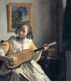 """""""Youg woman playing a guitar"""" by Johannes Vermeer, c.1672. 035/038."""