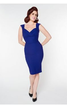 Pinup Couture - Erin Dress in Royal Blue | Pinup Girl Clothing