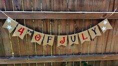 of July' Burlap Banner! Pennants measure wide x tall.Pair with burlap table runners and/or burlap overlays for the perfect Independence Day! 4th Of July Party, Fourth Of July, Holiday Crafts, Holiday Fun, July Crafts, Festive, Happy Birthday America, Patriotic Decorations, Holiday Decorations