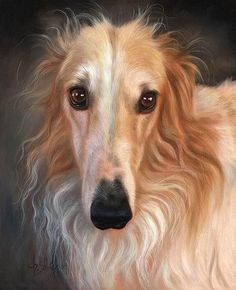 painting of a Borzoi -- by Christina Schulte