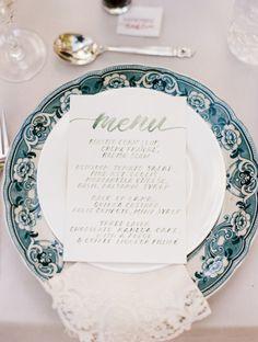 Watercolor menu: http://www.stylemepretty.com/colorado-weddings/2014/11/24/french-countryside-wedding-inspiration/ | Photography: DeFiore - http://defioreart.com/