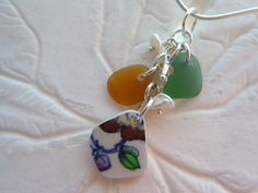 Pottery Sea Glass Necklace Beach Seaglass by TheMysticMermaid