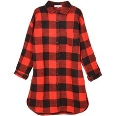 Relaxfeel Women's Loose Red Plaid Shirt Red ($38) ❤ liked on Polyvore featuring tops, red, plaid top, red tartan shirt, red shirt, loose tops and red top