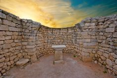 The ruins of an ancient altar in the Greek temple on sunset Stock Photo - 11578533