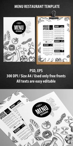 Cool Restaurant Menu Design Idea : LOVE IT! Check my other Pins with Menu restaurant template ideas on my Board: https://pinterest.com/analika3/menu-restaurant-template-ideas/ << ENJOY! ;) _ _ _ Menu Restaurant Template PSD (Inspiration for Graphic Designers...)