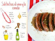 Salchichas de pollo-pavo al vino y la canela