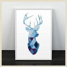cuadro-geo-deer-print-blue