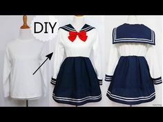 DIY: How to Transform T shirt into Navy Dress + Chinese/Qi Lolita Dress Review - YouTube