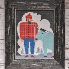 """Bothy Needleworks on Instagram: """"Paul Bunyan & Babe 🏕 Perfect for a lumberjack-themed birthday party."""" Paul Bunyan, Bothy, Birthday Party Themes, Cross Stitch Embroidery, Needlework, Babe, Baseball Cards, Gifts, Inspiration"""
