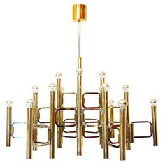 Impressive Fifteen-Light Chandelier in Brass and Chrome by Gaetano Sciolari