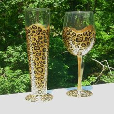 Leopard hand painted wine and beer glasses. by GlassesbyJoAnne
