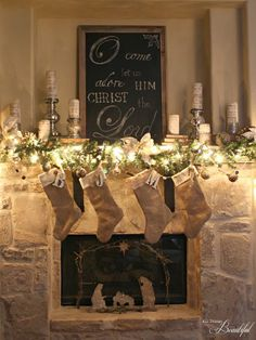 {Christmas Home Tour} Burlap and velvet stockings, Barnwood framed chalkboard, and glitter nativity, make this Christmas mantle chic. Many beautiful Christmas decorating idea's in this home tour. Merry Little Christmas, Noel Christmas, Rustic Christmas, Winter Christmas, Christmas Crafts, Outdoor Christmas, Christmas Ideas, Fire Place Christmas Decor, Fire Place Decor