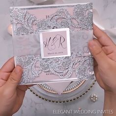Glitter Silver and blush pink laser cut wedding invitations with translucent vellum belly band ideas elegant Silver Wedding Invitation Assembling Quince Invitations, Silver Wedding Invitations, Diy Invitations, Wedding Invitation Cards, Wedding Cards, Diy Wedding, Wedding Day, Invitation Ideas, Invitation Wording