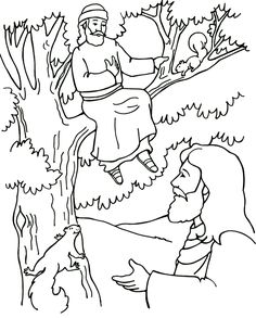 New Testament Coloring Pages | New Testament #43 – Zacchaeus | Proclaimers for Christ Children's ...