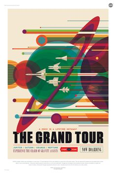 NASA's Jet Propulsion Laboratory has commissioned a series of posters celebrating the future of space travel with retro-inspired designs. Evoking a golden age of exploration,the Visions of the Future campaign imagines a time when one might travel toJupiter for weather … Continue reading →