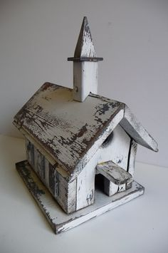 Vintage Birdhouse Wood Church Steeple Distressed by MySeriousSide, $39.00