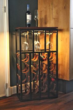 Made with leather, steel, wood and led lights Steel Furniture, Home Decor Furniture, Industrial Furniture, Diy Home Decor, Furniture Design, Vintage Cafe Design, Industrial Wine Racks, Table Decor Living Room, Wine Rack Wall