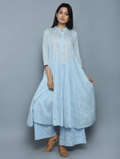 Sky Blue Cotton Kalidar Kurta - the loom