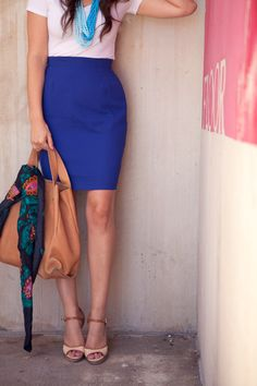 i really want a cobalt blue pencil skirt now.