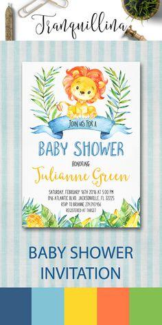 Jungle Baby Shower Invitation Printable, Lion Baby Shower Invitation, Printable…