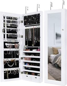 Greenco Over The Door Organizer Jewelry Armoire with Large Mirror and Led Lights, Lockable- White Home Office Organization, Jewelry Organization, Organization Ideas, Jewelry Storage, Shoe Storage, Teenage Girl Gifts Christmas, Christmas Gifts, Wall Mounted Jewelry Armoire, Over The Door Organizer