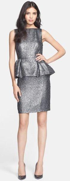 Love! Metallic & peplum dress.