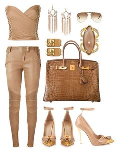 """""""Untitled #292"""" by scannedbyaaron ❤ liked on Polyvore featuring Balmain, Hermès, Henri Bendel and Yves Saint Laurent"""