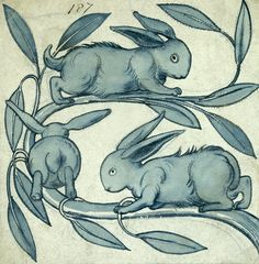Tile - rabbits running along a branch, by William De Morgan (1839-1917). England, late 19th century.