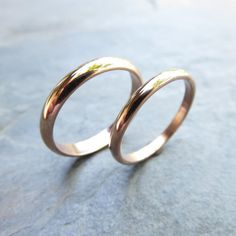 Traditional Matching Wedding Band Set in Solid Yellow or Rose Gold, Domed Bands in and Polished or Matte Finish, Recycled Gold Matching Wedding Band Sets, Wedding Matches, Or Rose, Rose Gold, Solid Gold, White Gold, Ring Verlobung, Gold Jewelry, Silver Rings