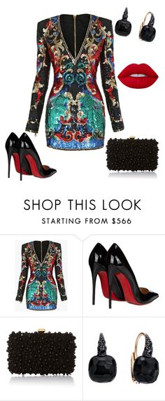 """Untitled #514"" by sylvia-tall ❤ liked on Polyvore featuring Balmain, Christian Louboutin, Elie Saab, Pomellato and Lime Crime"