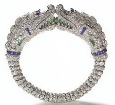 Cartier bracelet, 1929 platinum, diamonds, sapphires, emeralds, and rock crystal