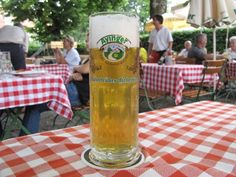 A cloudy Kellerbier from the Ayinger brewery served in the Wirtsgarten of Liebhard's Bräustüberl in the village of Aying, 25km southeast of Munich.