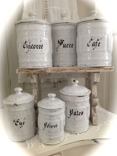 ✰ Love French, Country Charm, Canister Sets, Metal Tins, Bakeware, Serveware, Shabby Chic, Enamel, Beautiful Things