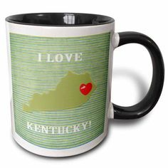 3dRose I Love Kentucky with a Heart on the State, Green, Red, Stripes, Two Tone Black Mug, 11oz - Walmart.com
