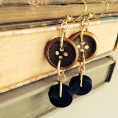 Holiday Vintage Button Earrings - BLACK TIE - by thelibraryfaerie, $5.99