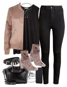 """""""Outfit with a bomber jacket and black jeans"""" by ferned ❤ liked on Polyvore featuring H&M, T By Alexander Wang, River Island, Jeffrey Campbell, The Kooples, Givenchy, Fiorelli, Monica Vinader and Lanvin"""