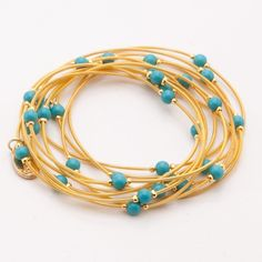 Piano Wire Turquoise Bracelet