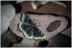 Mourning Cloak Butterfly on Lake Superior Stone by StonewingsbyOshi on Etsy