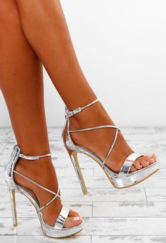 Buy Women's Shoes in Pink Boutique From Stilettos to Platform Heels . Silver Heels Prom, Prom Heels, Silver Shoes, Stilettos, Pumps Heels, Stiletto Heels, Strap Heels, Ankle Strap, Plateau Heels
