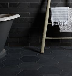 These natural slate tiles are finely riven with calibrated thickness and subtle variations in tone for an urban look and feel.