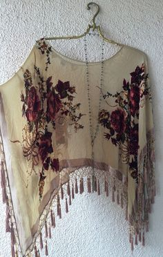 Image of Made in Paris Gypsy Stevie Nicks beaded fringe romantic velvet peasant capelet