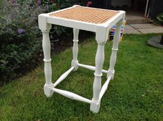 Shabby chic vintage oak cane top stool/small table, painted in Little Greene
