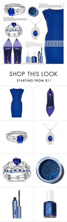 """""""Jeulia Blue Style"""" by lucky-1990 ❤ liked on Polyvore featuring River Island, Sergio Rossi, Lime Crime, Benefit, Essie, women's clothing, women's fashion, women, female and woman"""