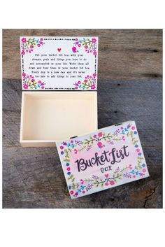 "Fill this Bucket List Box with your dreams and goals! This cream box features the words ""Bucket List Box"" floral design. Comes with a special sentiment on the inside lid. 7"" L x 5"" W x 1.75"" H"