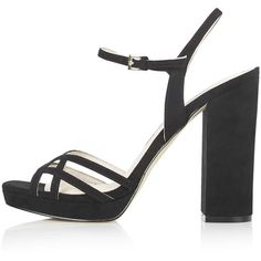TOPSHOP LOLA Platform Sandals ($85) ❤ liked on Polyvore featuring shoes, sandals, topshop, black, fancy sandals, black strap sandals, dressy sandals, black platform shoes and black shoes