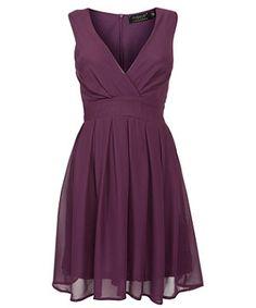 Purple (Purple) Pussycat Purple V Neck Pleated Chiffon Dress | 268724650 | New Look