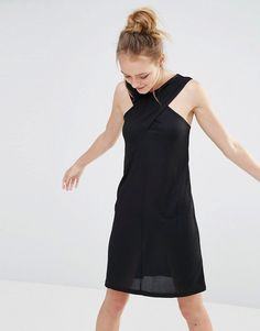 Image 1 of Monki Cross Front Ribbed Dress